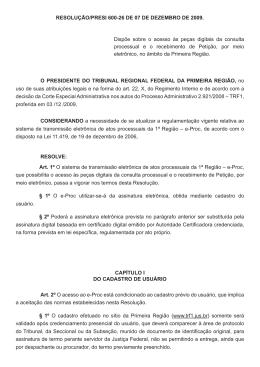 Resolução Presi 600-26 de 07/12/2009