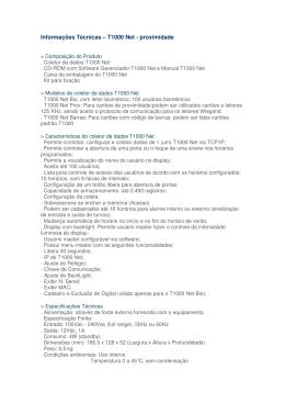 Informações Técnicas – T1000 Net - proximidade
