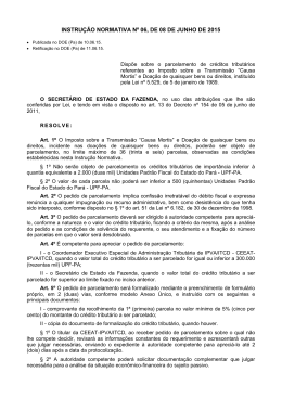 Instrução Normativa n. 06, de 08 de junho de 2015. - Sefa