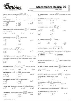 03. SB-03 - Lista 02 - Matemática Básica - Radiciação