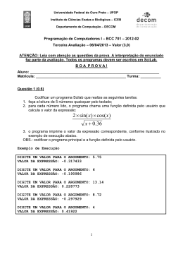 3ª Prova do 2º semestre de 2012 - ICEB