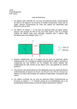 UFPA Física Moderna II Prof. Jaime Lista de Exercícios 1. Um