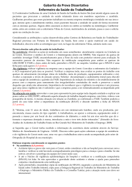 PS004-2012 GABARITO DISSERTATIVA ENFERMEIRO DA SAUDE