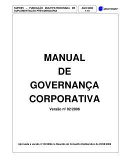 MANUAL DE GOVERNANÇA CORPORATIVA Versão nº 02