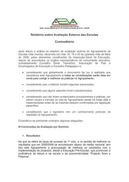 Relatório sobre Avaliação Externa das Escolas Contraditório