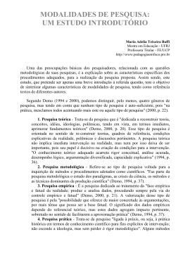 MODALIDADES DE PESQUISA: UM ESTUDO INTRODUTÓRIO