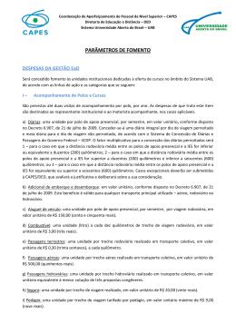 DESCRIÇÃO DOS PARÂMETROS DE FOMENTO (NÚCLEO UAB)
