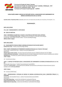 Programação Seminário MSE - SST - Governo do Estado de Santa