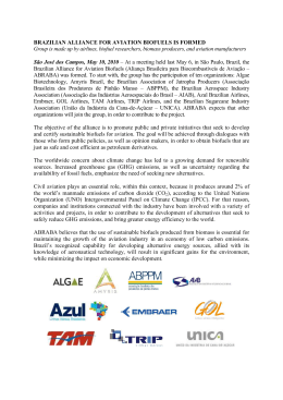 BRAZILIAN ALLIANCE FOR AVIATION BIOFUELS IS FORMED