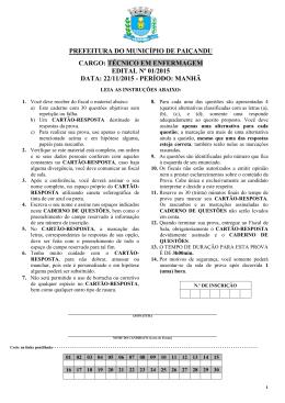 prefeitura do município de paiçandu cargo: técnico em enfermagem