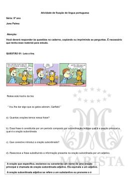 Atividade de fixação de língua portuguesa Série: 9º ano Jane Palma