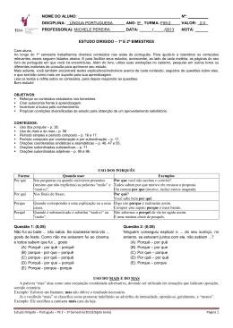 NOME DO ALUNO: DISCIPLINA: LÍNGUA PORTUGU