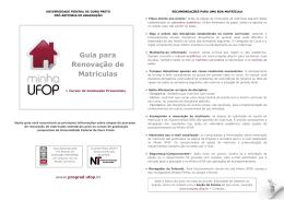 Guia para Renovação de Matrículas - Prograd