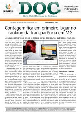 Contagem fica em primeiro lugar no ranking da transparência em MG