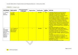 XXX : critérios principais CRITÉRIOS INDICADOR