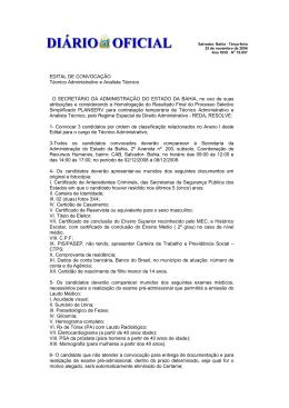 EDITAL DE CONVOCAÇÃO Técnico Administrativo e