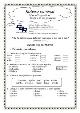 5 ano Vespertino / 02 a 06 março ProfªAmélia