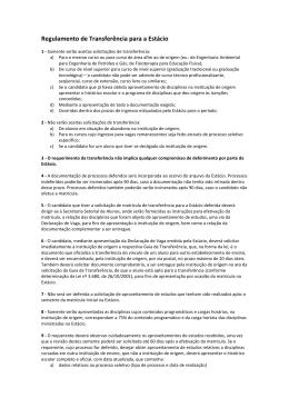Regulamento de Transferência para a Estácio