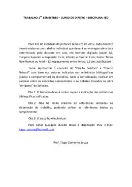 TRABALHO 1 SEMESTRES – CURSO DE DIREITO