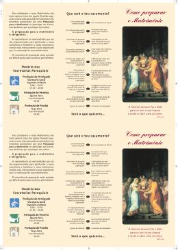 Como preparar - Paróquias de Arreigada, Ferreira e Frazão