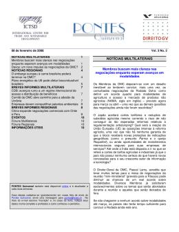 NOTÍCIAS MULTILATERAIS - International Centre for Trade and
