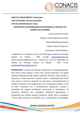 AREA DE CONHECIMENTO: Enfermagem TIPO DE RESUMO