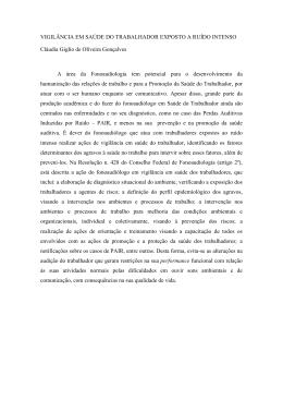 VIGILÂNCIA EM SAÚDE DO TRABALHADOR EXPOSTO A RUÍDO