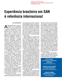 Experiência brasileira em SAN é referência internacional