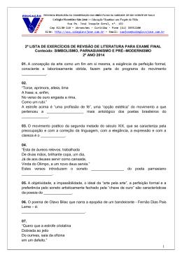 1 2ª LISTA DE EXERCÍCIOS DE REVISÃO DE LITERATURA PARA