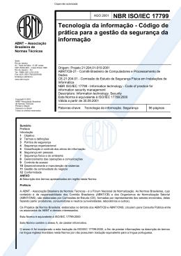 NBR ISO/IEC 17799 Tecnologia da informação