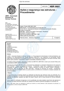 NBR 8681 Ações e segurança nas estruturas - Procedimento