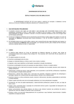 UNIVERSIDADE ESTÁCIO DE SÁ EDITAL Nº 002/2015, DE 24 DE