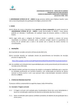 A UNIVERSIDADE ESTÁCIO DE SÁ – UNESA divulga processo