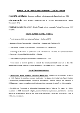 Currículo - Carrasqueira, Abreu e Araujo