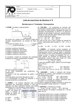 Lista de exercícios de Química nº 5