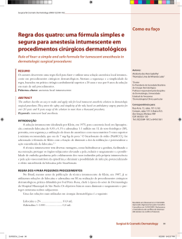 Anestesia – Regra dos 4 - Surgical And Cosmetic Dermatology