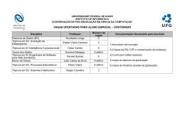 VAGAS OFERTADAS PARA ALUNO ESPECIAL