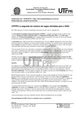 UTFPR é a segunda em número de vagas ofertadas para o SiSU