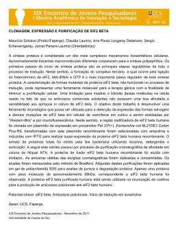 CLONAGEM, EXPRESSÃO E PURIFICAÇÃO DE EIF2 BETA