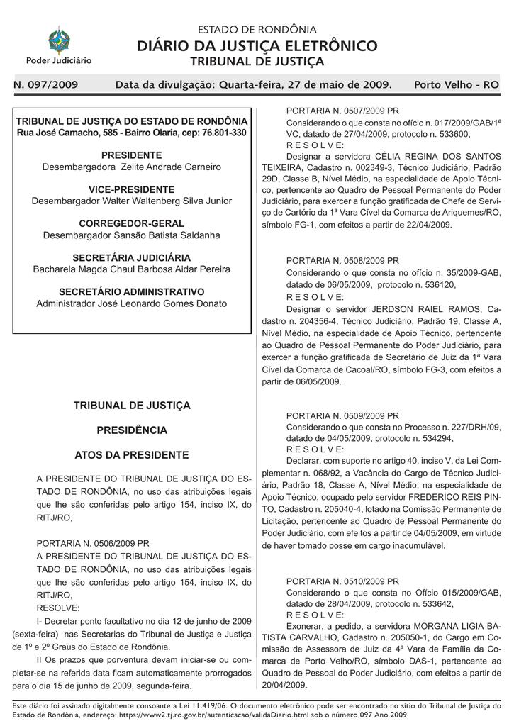 0f940567fe 27 - Tribunal de Justiça de Rondônia