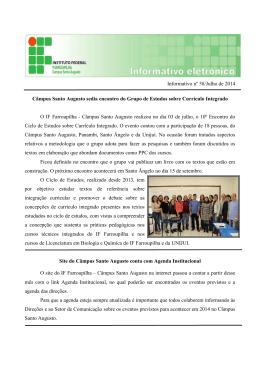 Boletim Informativo - Julho/2014