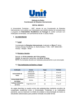1. DA INSCRIÇÃO Universidade Nova de Lisboa