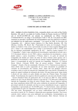 ALL – AMÉRICA LATINA LOGÍSTICA S.A. CNPJ/MF nº 02.387.241