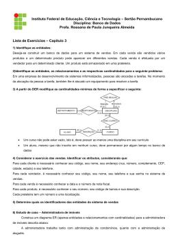 Exercícios Cap. 3 - Profª. Rossana Junqueira