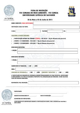 FICHA DE INSCRIÇÃO VIII SEMANA DO MEIO AMBIENTE