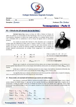 Termoquímica – Parte II - Colégio Salesiano Recife