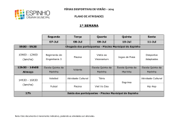 FÉRIAS DESPORTIVAS DE VERÃO – 2014 PLANO DE