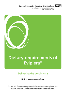 Dietary requirements of Eviplera® - University Hospitals Birmingham