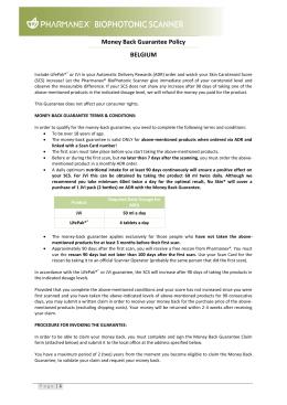Money Back Guarantee Policy BELGIUM