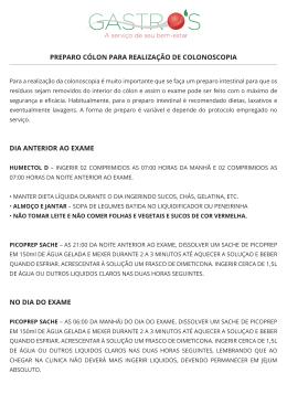 PREPARO CÓLON PARA REALIZAÇÃO DE COLONOSCOPIA